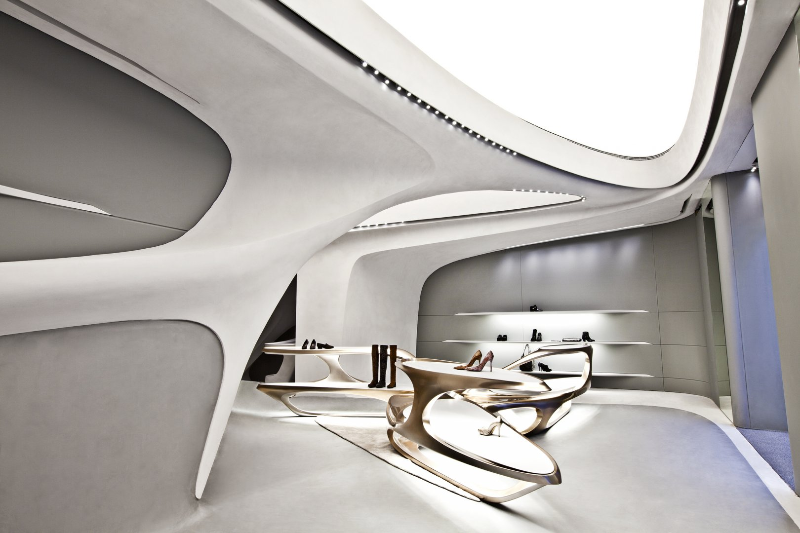 Deconstructivism Furniture Interior Design ~ Stuart weitzman flagship store by zaha hadid