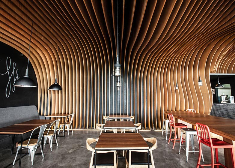 Six degrees cafe by oozn designinspirationist inspirationist for Undulating architecture