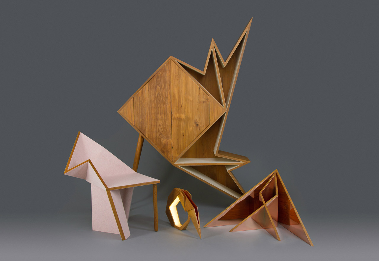modern geometric furniture. a collection of geometric furniture and decorative objects inspired by origami forms modern u