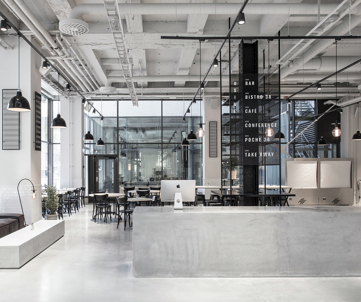 Usine restaurant is inspired by scandinavian minimalism for Industrial minimalist design