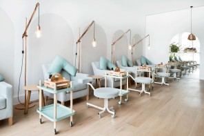 White washed timber and accents of mint at Beauty EDU in Melbourne