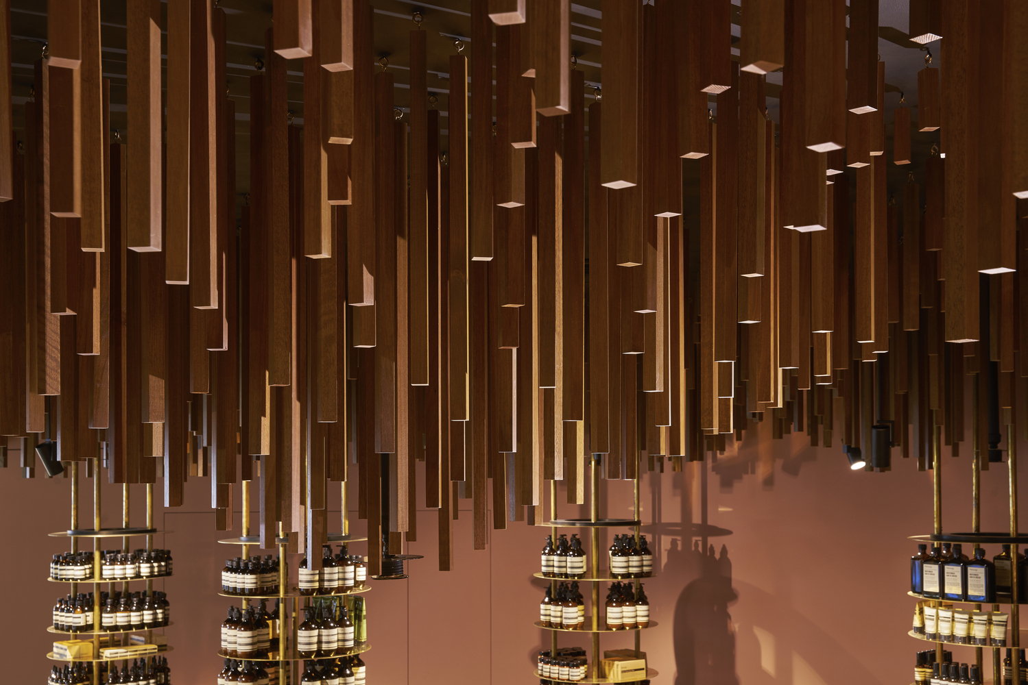 Thin Timber Battens Hang From The Ceiling Of The New Aesop