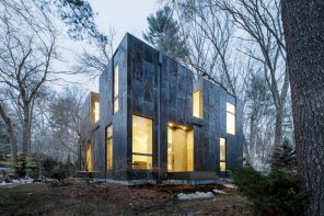 A facade with a tree-trunk hue of weathering steel cladding