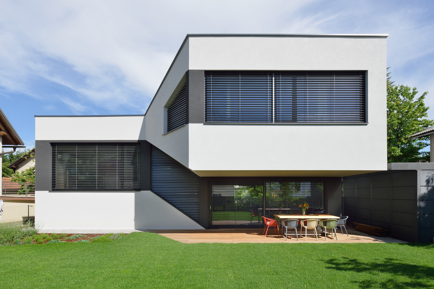 A Split Level House With A Landscaped Continuous Living Space on Split Level Kitchen