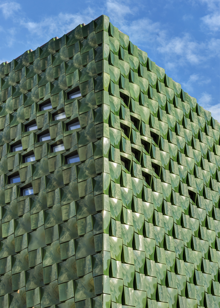 Green Terra Cotta : A monumental entrance of deep green glazed terra cotta
