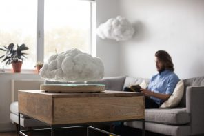 A floating cloud with an inbuilt Bluetooth speaker & sound reactive LED lights