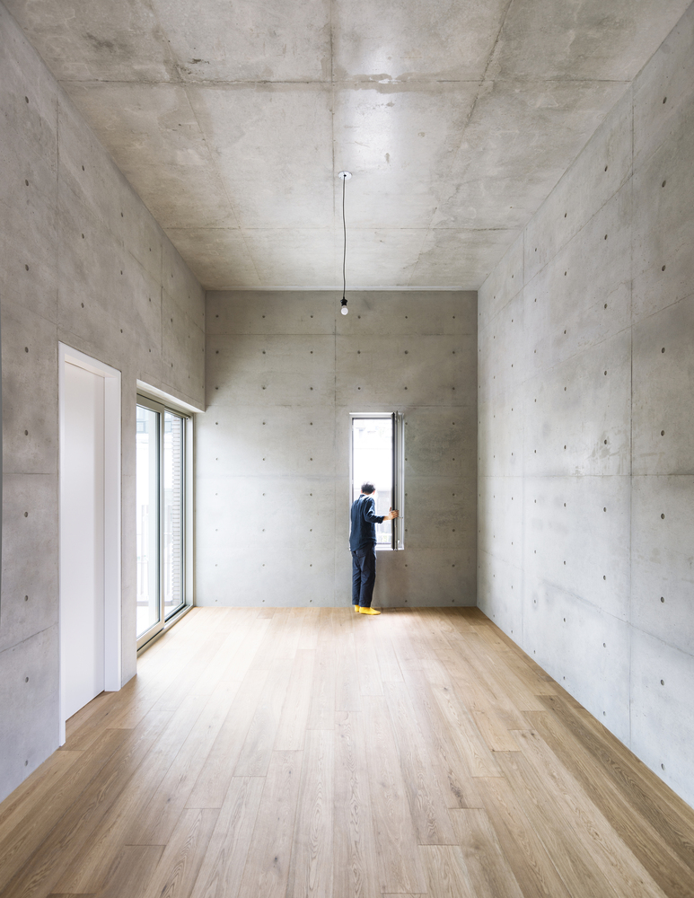 A Concrete Basement That Supports A Building In Seoul With