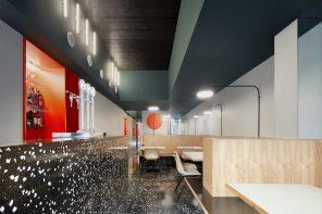 Pizzeria Massa: circular & triangular die-cut walls and formica benches