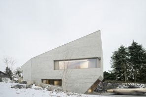 A crystal-shaped house designed of insulating concrete