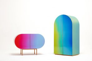 A cabinet that changes color depending on position and movement