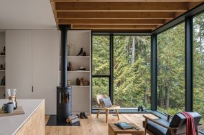Little House: a stark exterior contrasting a warm bright interior