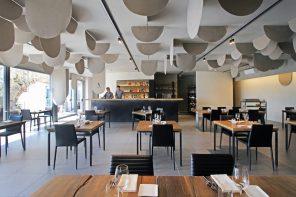 Italian restaurant Nasturzio features a bespoke ceiling felt installation