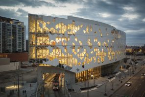 Calgary's new Central Library features a pattern resembling open books, snowflake-like lineworks and interlocking houses