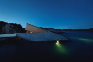Europe's first underwater restaurant is a 34-meter long monolithic form half-sunken into the sea