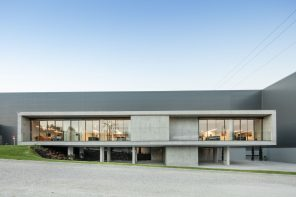 FACOL's administrative building addition is supported by a natural garden slope