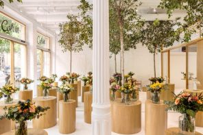 A florist shop that reinterprets a field of flowers with pathways shaded by trees