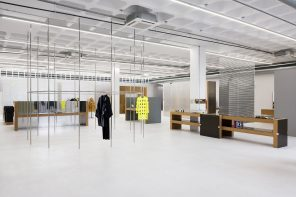 Lighting as the dominant feature of a warehouse turned concept store