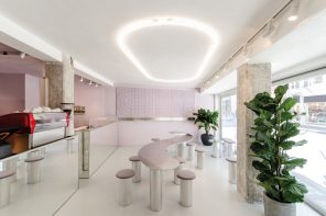 BLUB Waffle Store blends futuristic elements with soft and warm touches