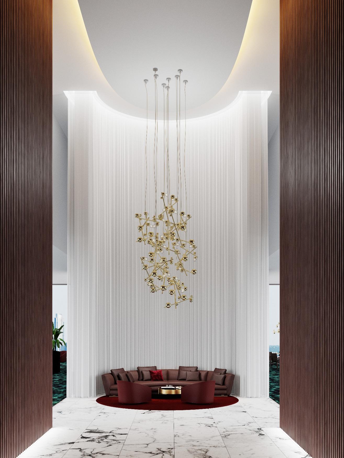 Brandvanegmond_Galaxy-collection_chandelier-round_lighting-composition_9xGALC100BR_brass-finish_interior