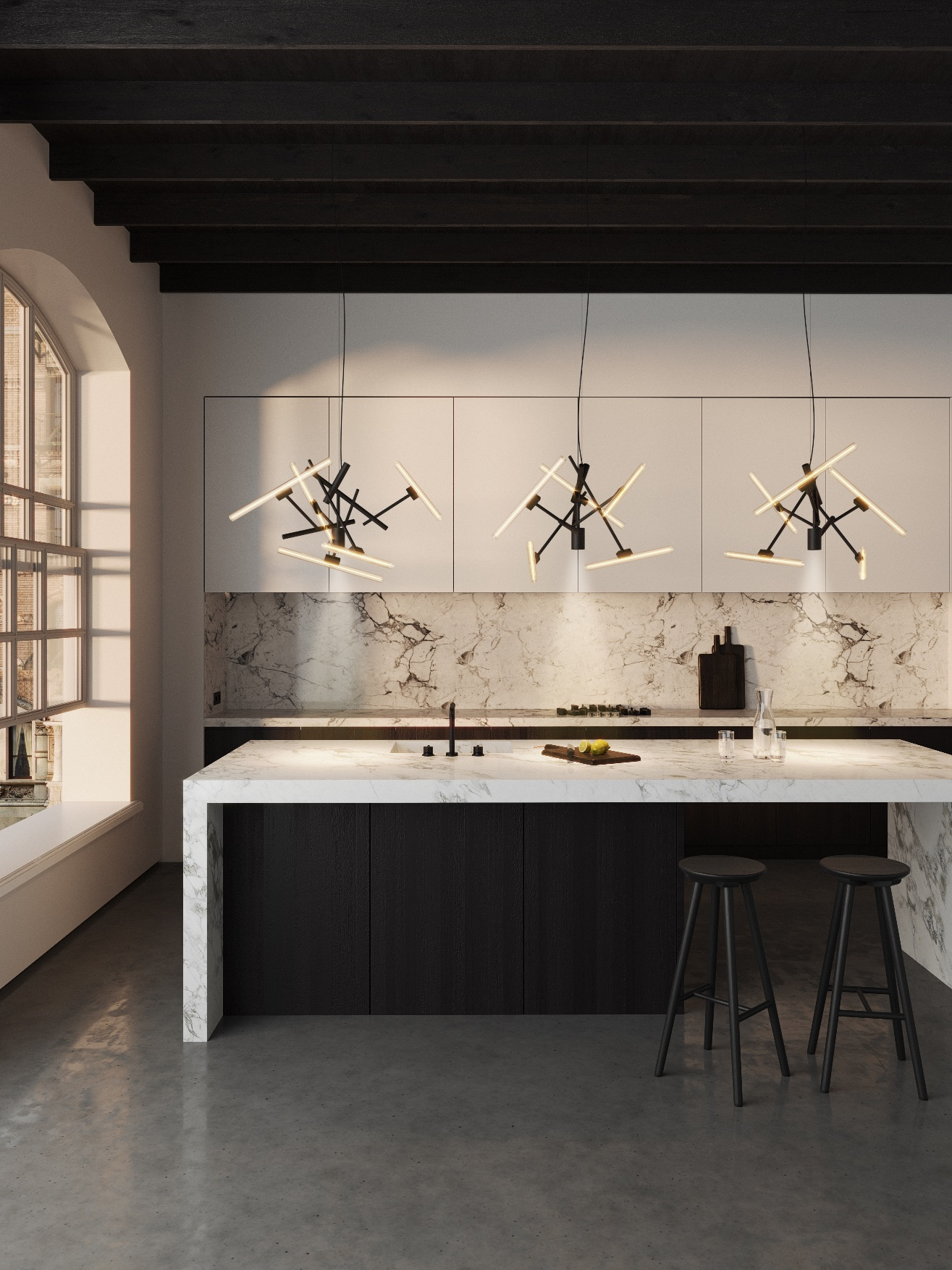 Brandvanegmond_Linea-collection_lighting-element_3x-LINLT50-70BLM_black-matt-finish_interior