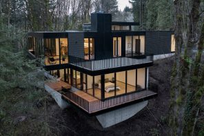 An intelligently designed modern dwelling that cantilevers far above the forest floor