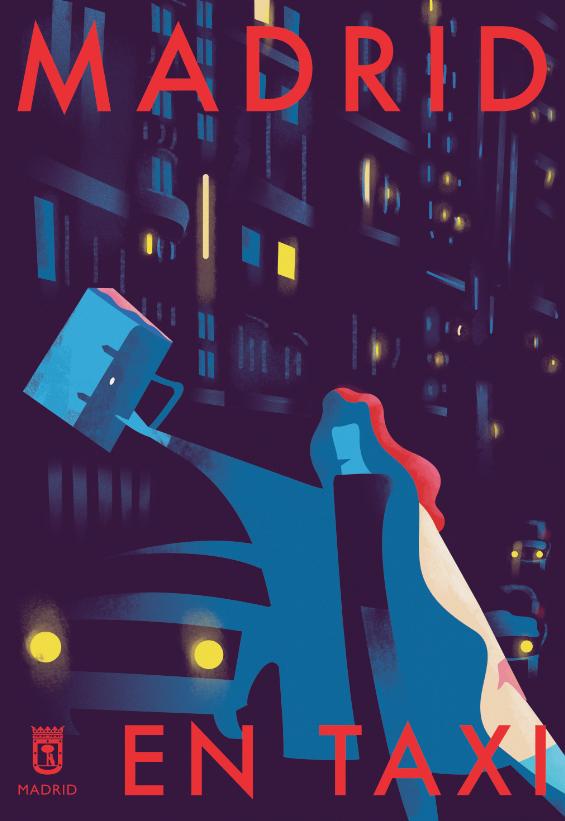 Expoziția de postere stradale din Madrid, Spania, Aperitif Studio, Taxi, Gran Vía, 2017