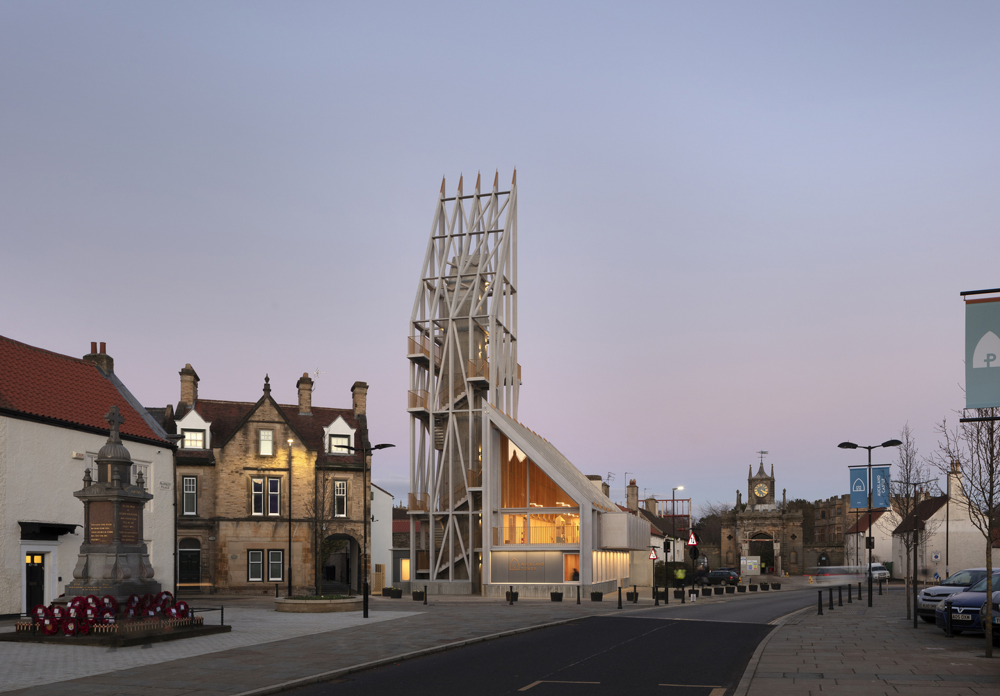 The Auckland Tower echoes lightweight provisional structures once clustering around castles