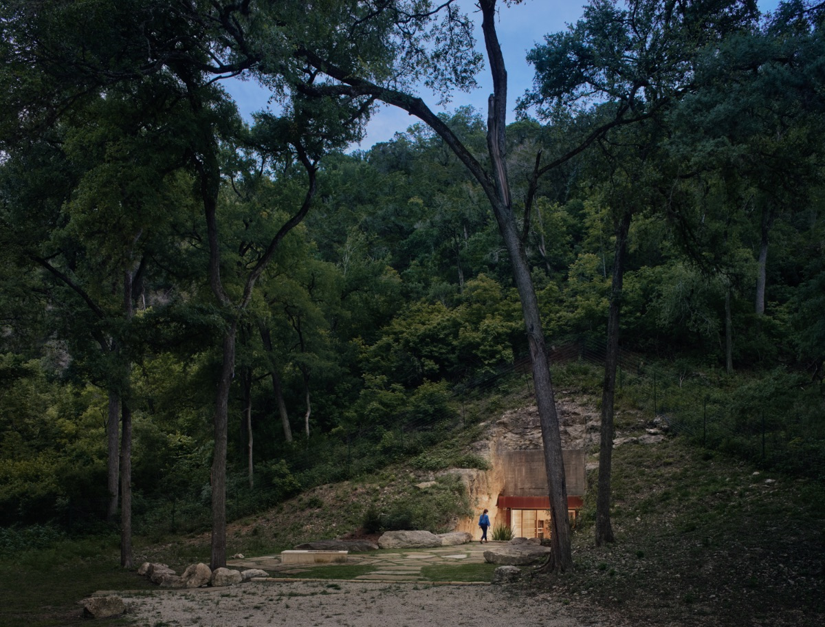 Hill Country Wine Cave disappears within the native landscape